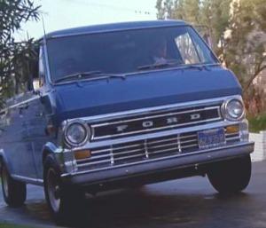Blue ford van