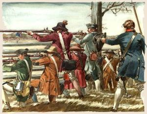 American_militia_firing_at_the_British_infantry_from_behind_a_split_rail_fence_during_the_Battle_of_Guilford_Courthouse,_March_15,_1781